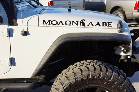 "Extra Large MOLON LABE ""Come and Take"" with Side View Spartan Helmet Hood Decals for your Jeep Wrangler"