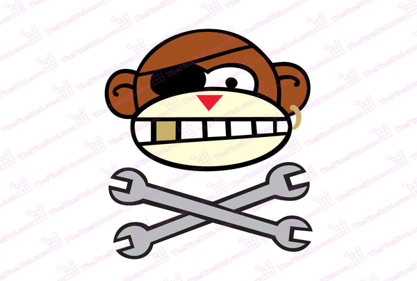 The Original Monkey Wrench Full Color Decal with Chrome and Gold