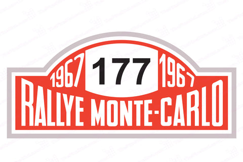 1967 Winner Monte Carlo Rallye Number Board Mini Cooper Decal Number 177