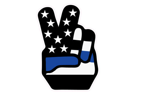 Retro 70's USA Flag Peace Hand Decal - Blue Lives Matter
