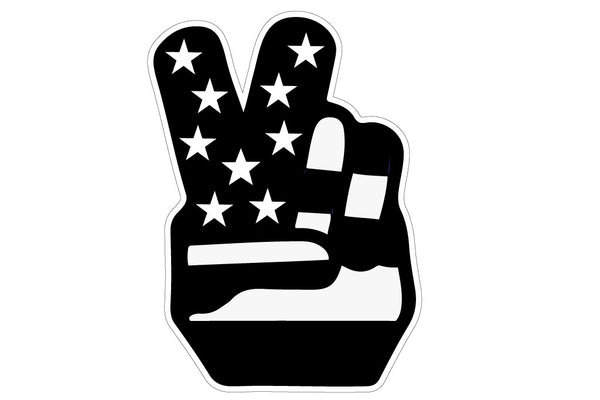 Retro 70's USA Flag Peace Hand Decal - Black and White