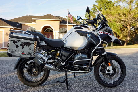 "BMW GSA Adventure Motorcycle Reflective Decal Kit ""World Adventure R1250"" for Touratech Panniers"