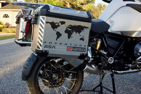 "BMW R1250 GS Adventure Motorcycle Reflective Decal Kit ""World Adventure Map"" for Touratech Panniers"
