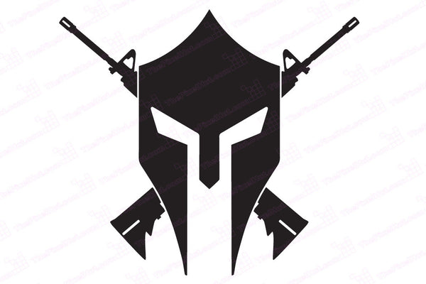 Spartan Helmet Crossed Ar15 Decal The Pixel Hut