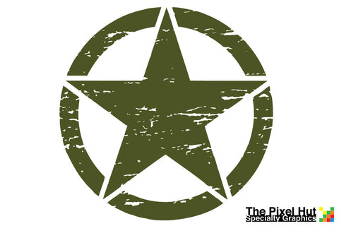 17 inch Oscar Mike Freedom Distressed Star Army Green Laminated