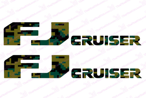 Toyota FJ Cruiser Olive Drab Digital Camo Door Decal Kit