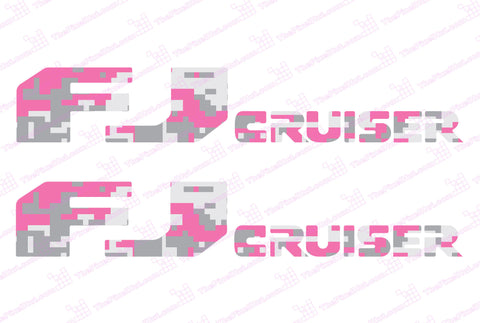 Toyota FJ Cruiser Pink Urban Digital Camo Door Decal Kit