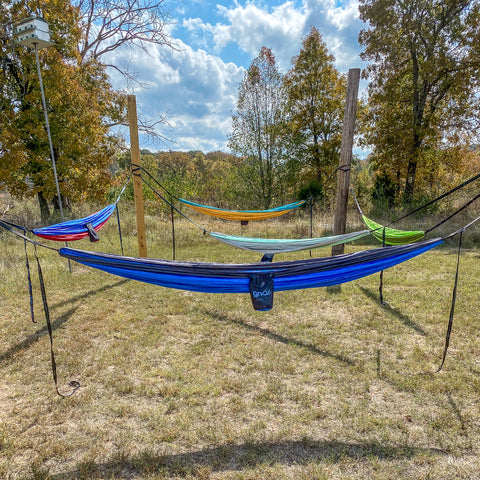 Five double hammocks hanging in the new hammock spot at Wildcat Glades.