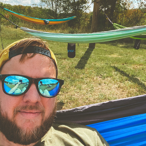 Curtis Miller, owner of Gnar, showing off the new hammock spot at Wildcat Glades.