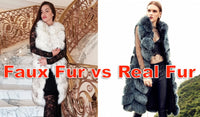 two models standing next to each other with one girl wearing furever faux fur and the other wearing real fur