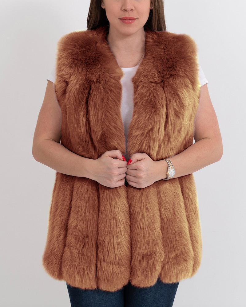 AMSTERDAM Brown Faux Fur Vest