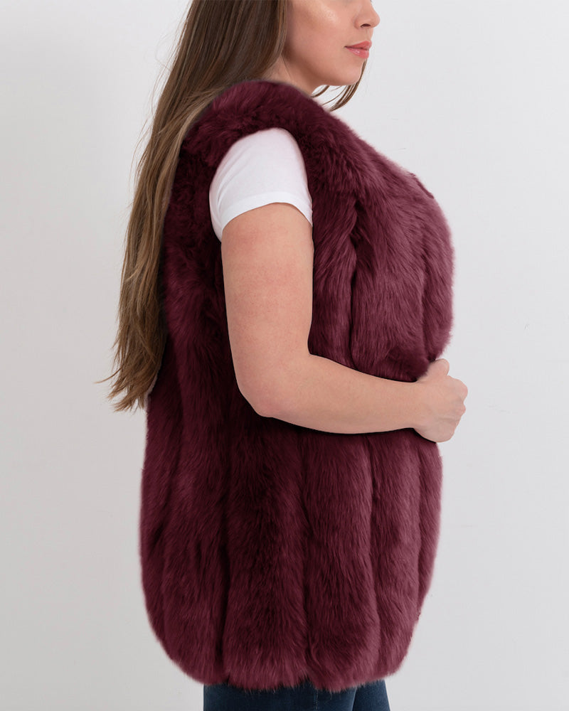 AMSTERDAM Red Faux Fur Vest