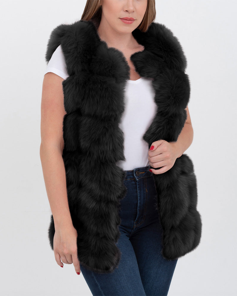 bucharest black faux fur vest | furever faux fur