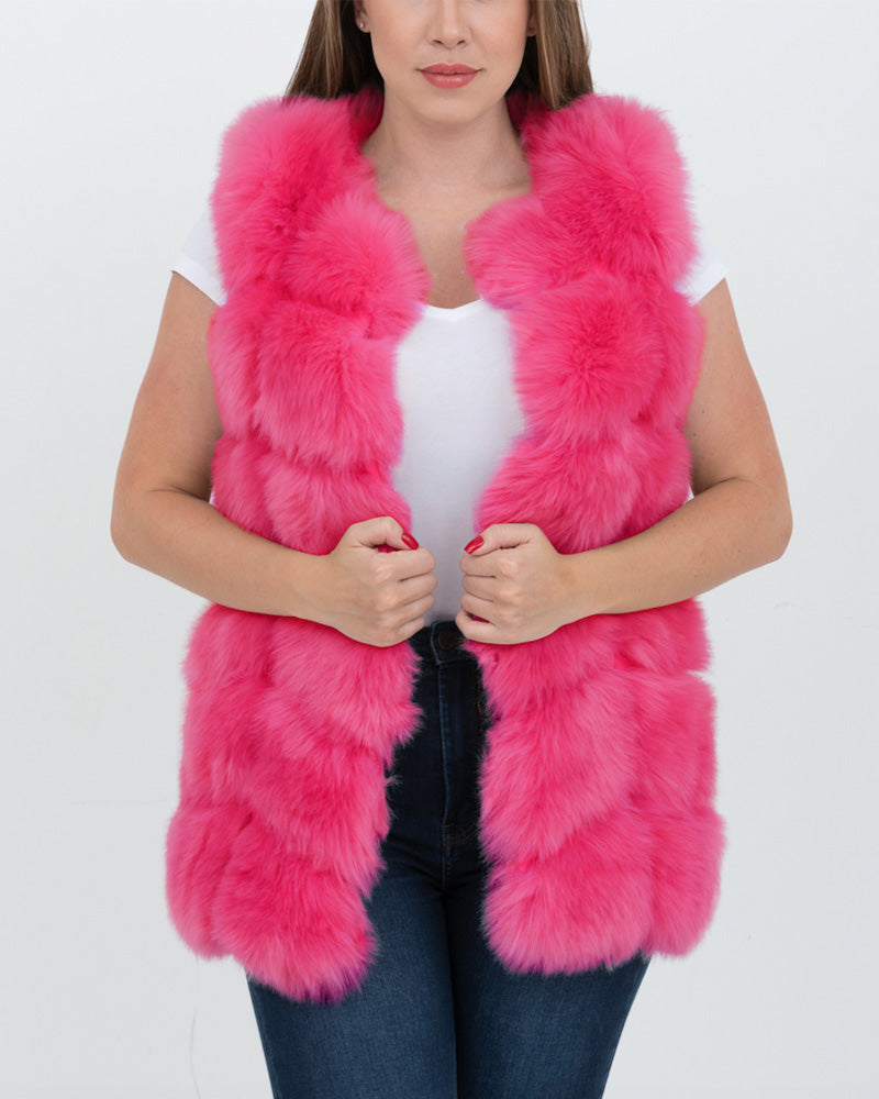 BUCHAREST Pink Faux Fur Vest