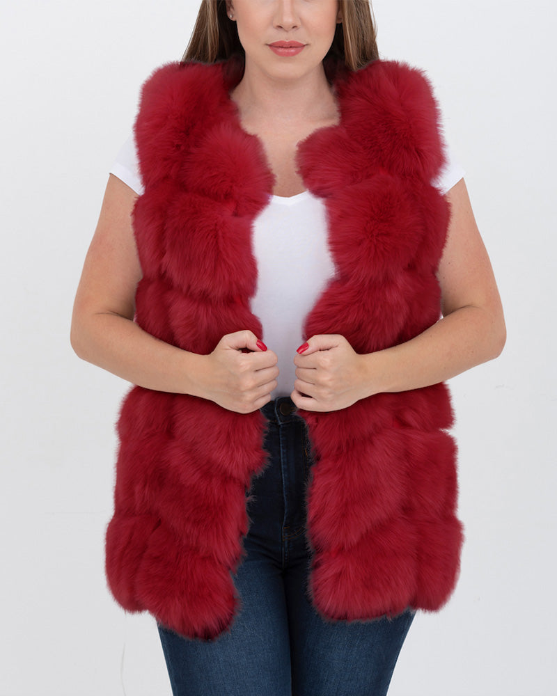 bucharest red faux fur vest | furever faux fur