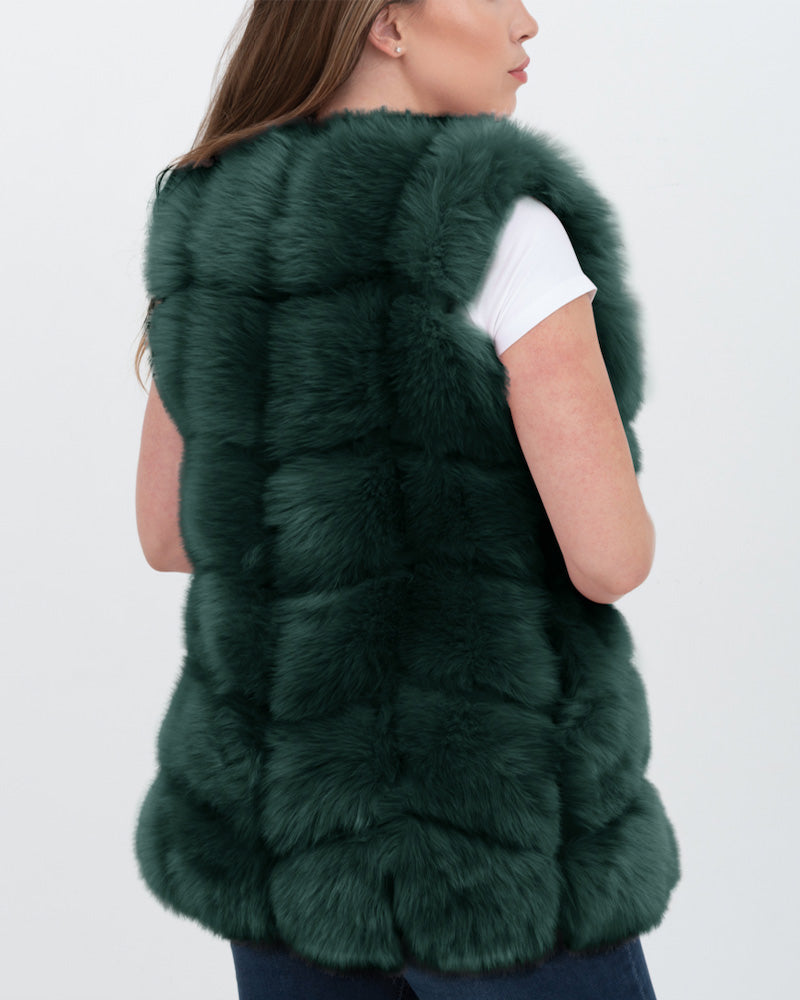 bucharest green faux fur vest | furever faux fur