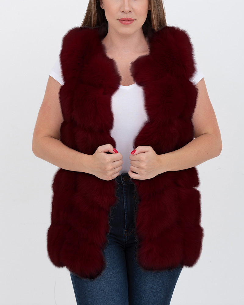 BUCHAREST Red Faux Fur Vest