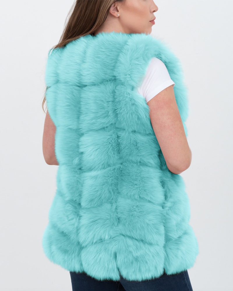 bucharest mint faux fur vest | furever faux fur