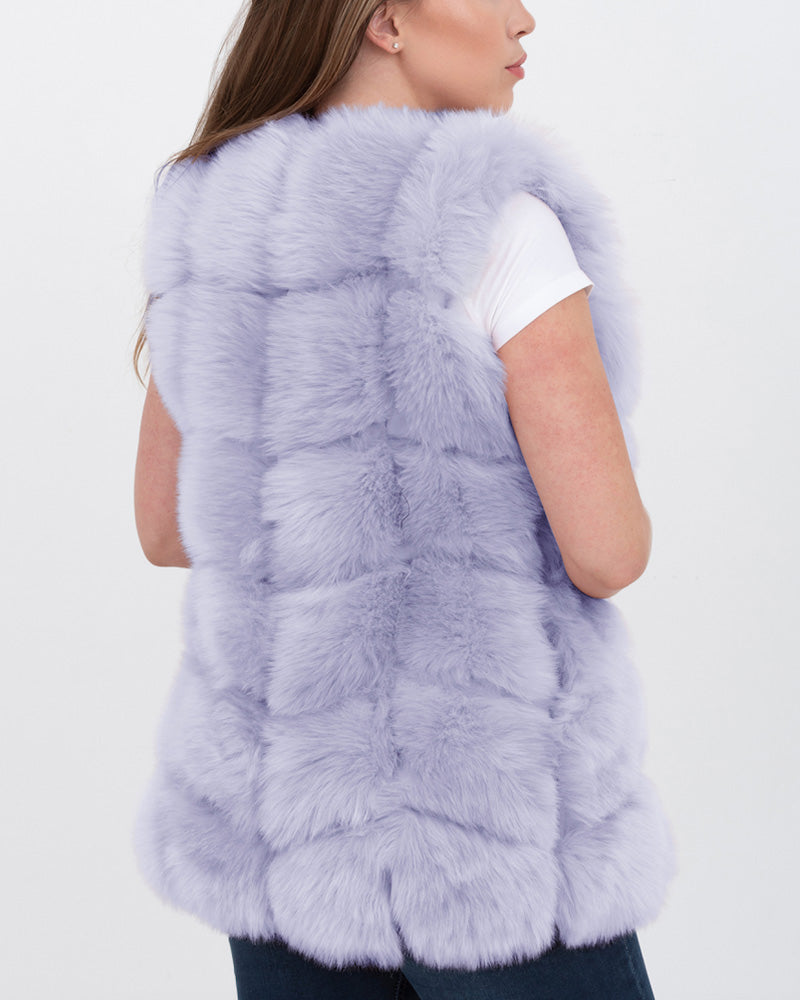 bucharest purple faux fur vest | furever faux fur