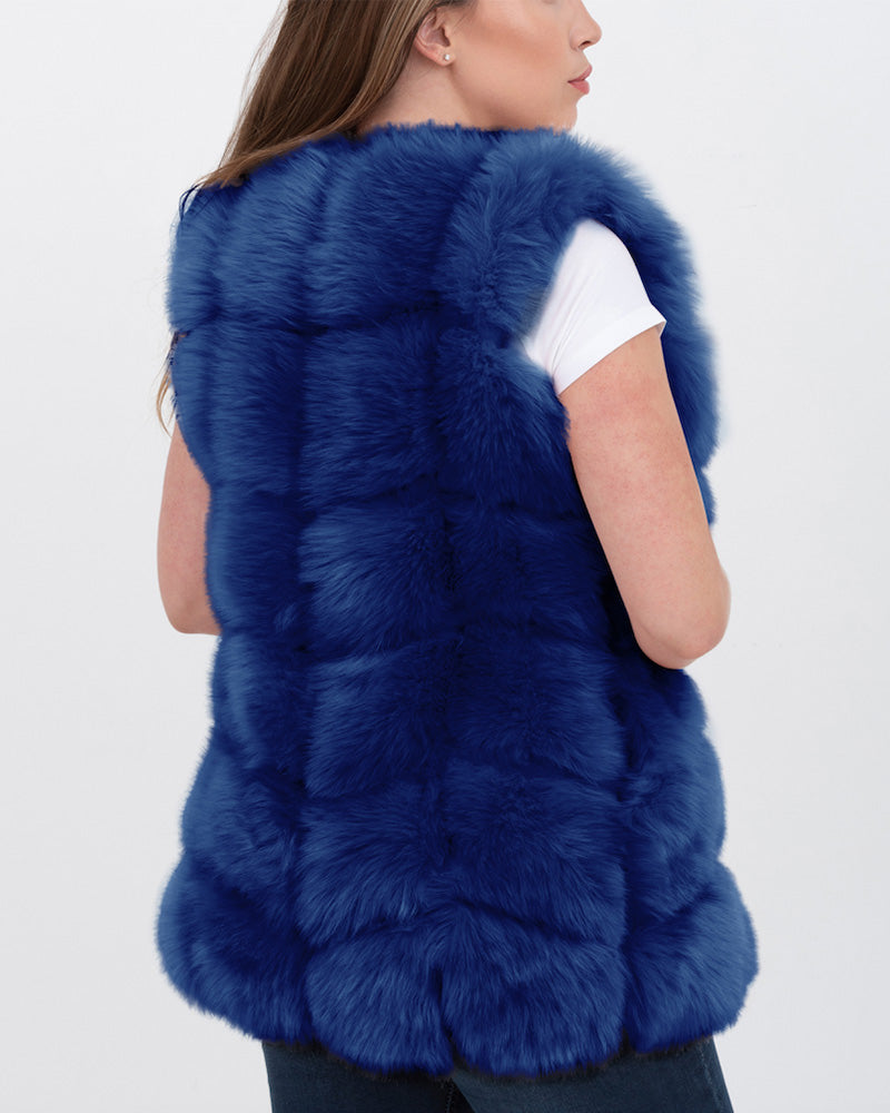BUCHAREST Blue Faux Fur Vest