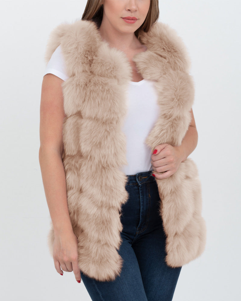 BUCHAREST Beige Faux Fur Vest