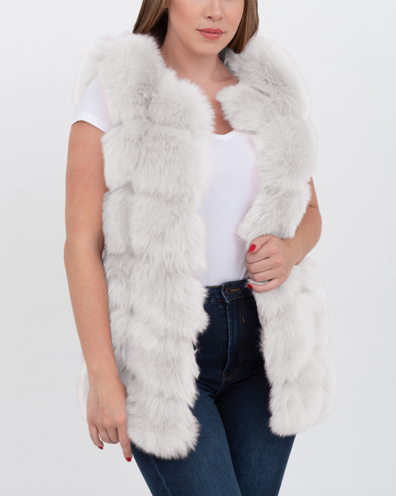 bucharest grey faux fur vest | furever faux fur
