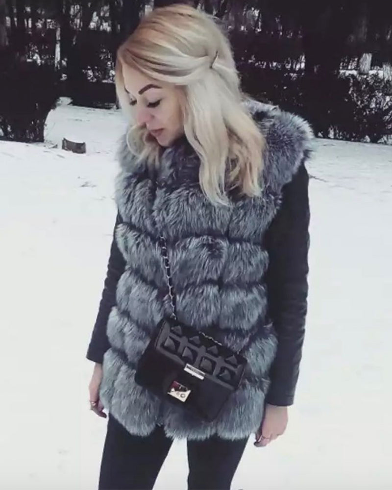 BUCHAREST Grey Faux Fur Vest