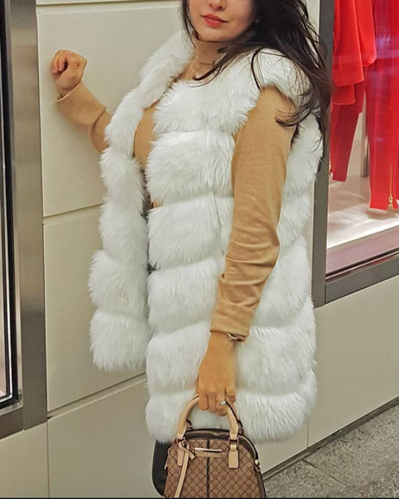 BUCHAREST White Faux Fur Vest