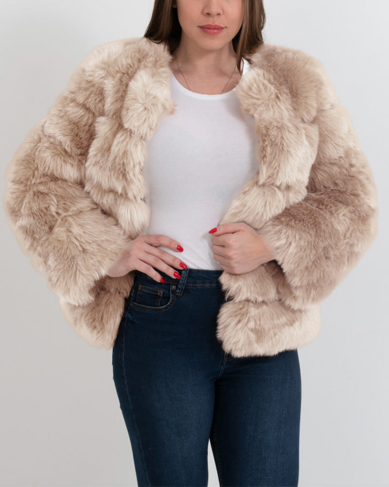 chicago beige faux fur coat | furever faux fur