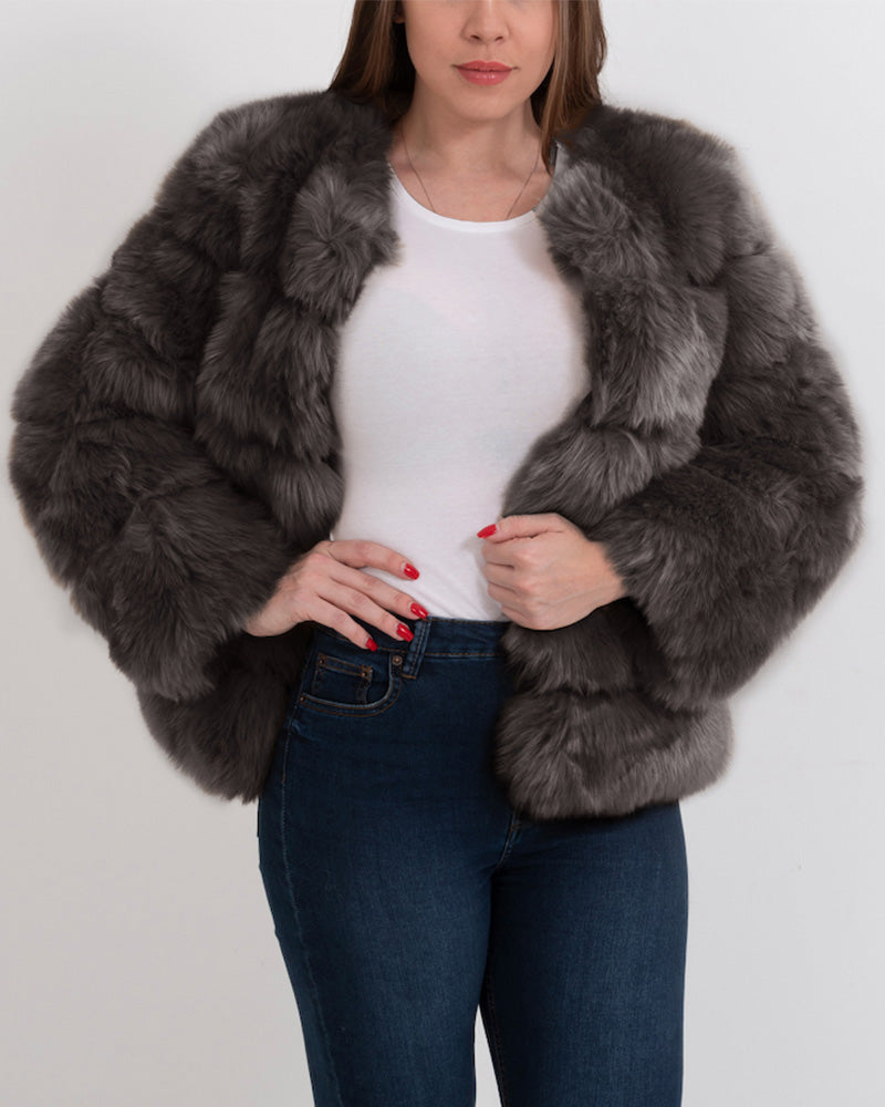chicago grey faux fur coat | furever faux fur