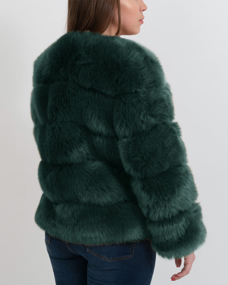CHICAGO Green Faux Fur Coat