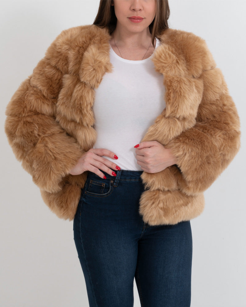CHICAGO Brown Faux Fur Coat