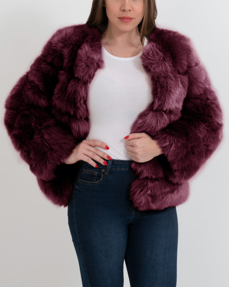 CHICAGO Red Faux Fur Coat