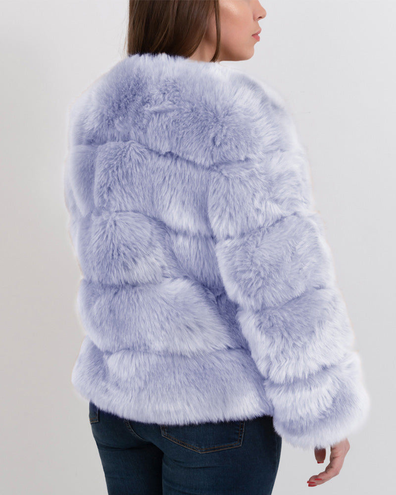 CHICAGO Purple Faux Fur Coat