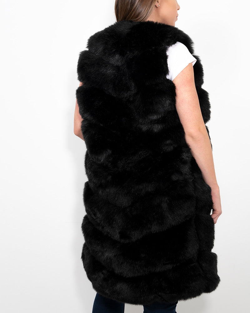 LONDON Black Faux Fur Vest