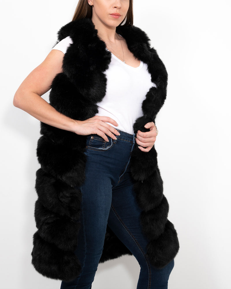 london black faux fur vest | furever faux fur