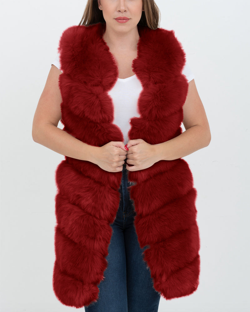 london red faux fur vest | furever faux fur