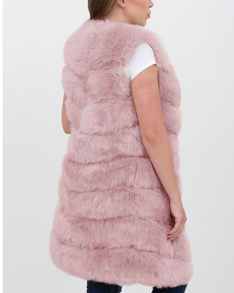 LONDON Pink Faux Fur Vest