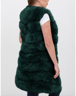 LONDON Green Faux Fur Vest