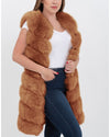 london brown faux fur vest | furever faux fur
