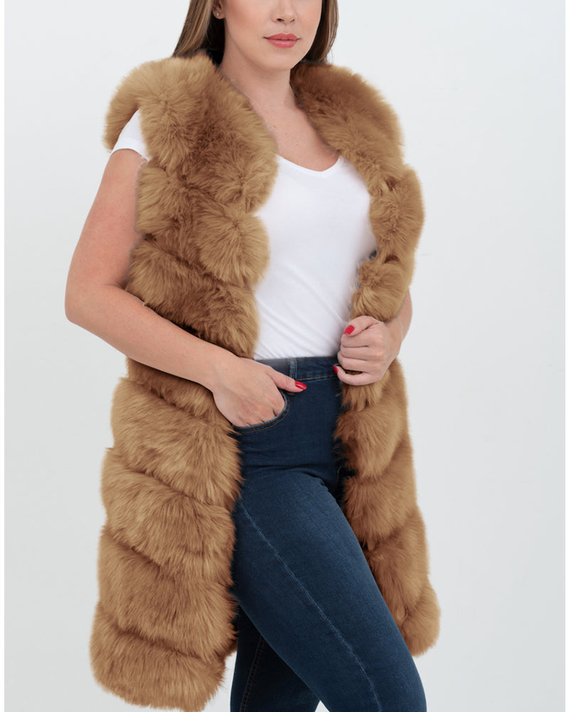 LONDON Brown Faux Fur Vest