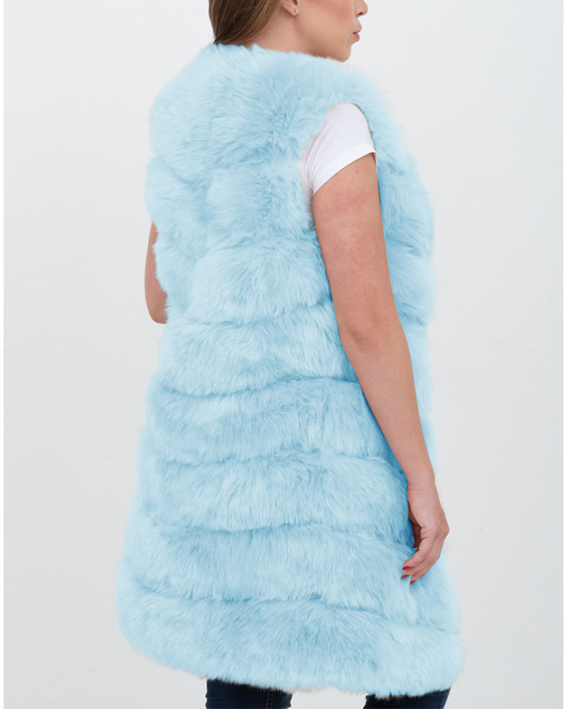 london blue faux fur vest | furever faux fur