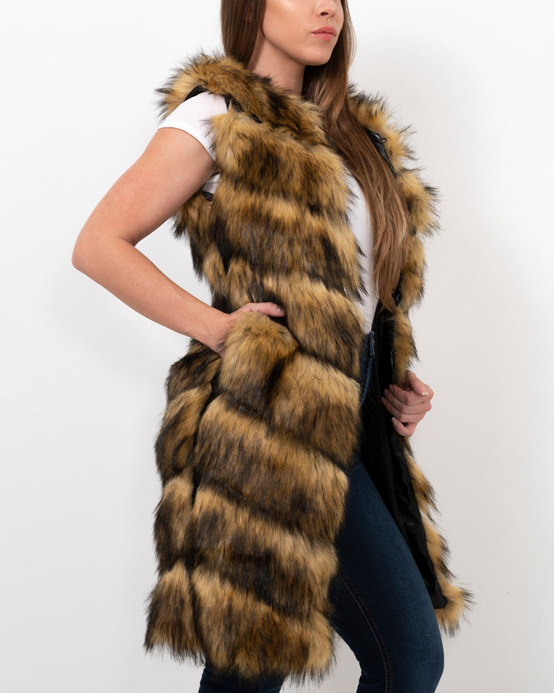 london raccoon brown faux fur vest | furever faux fur