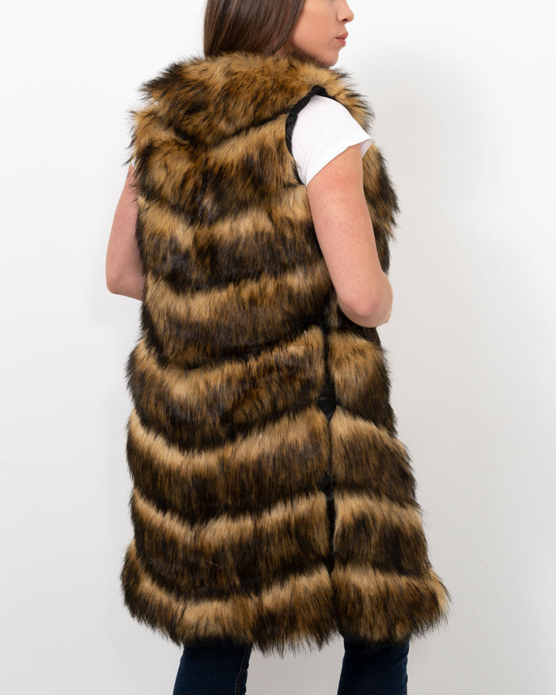 LONDON Raccoon Brown Faux Fur Vest