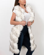 LONDON Raccoon White Faux Fur Vest