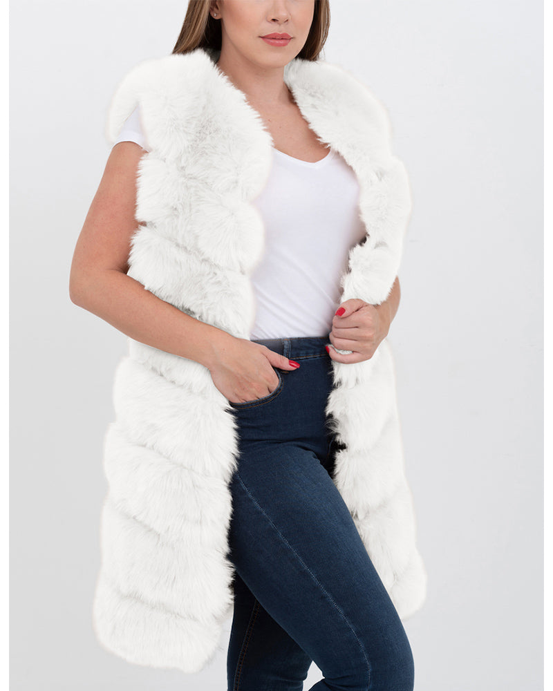 LONDON White Faux Fur Vest