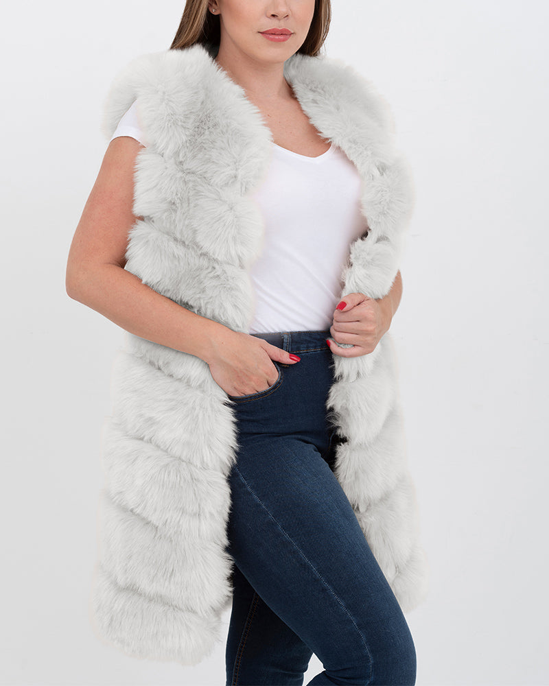 LONDON Grey Faux Fur Vest