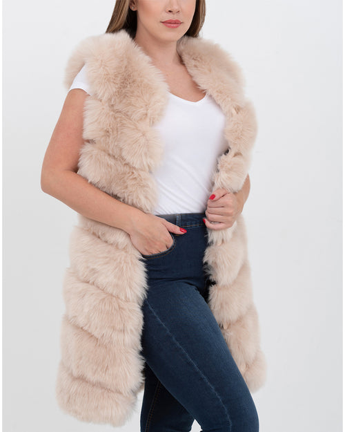 LONDON Beige Faux Fur Vest