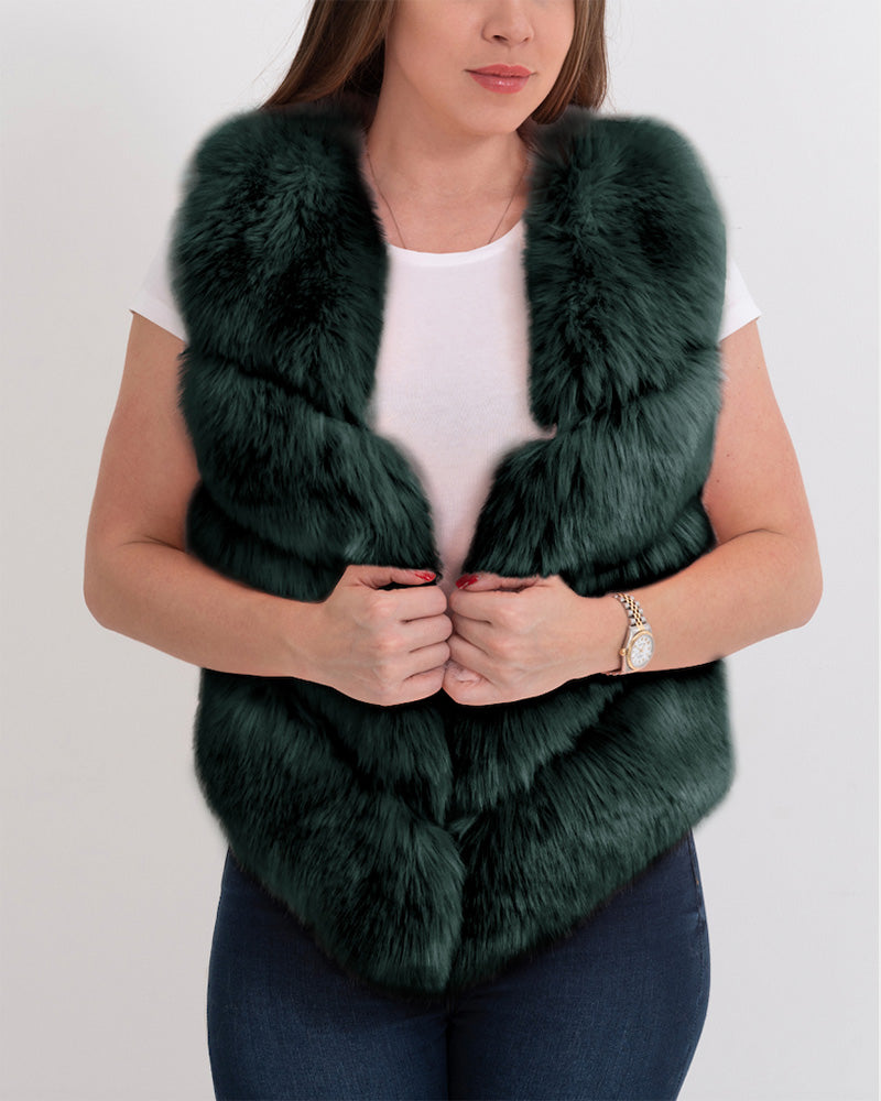 MONACO Green Faux Fur Vest