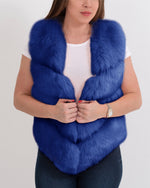 MONACO Blue Faux Fur Vest